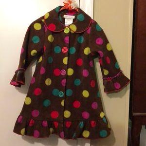 Girl polka dot fleece coat.